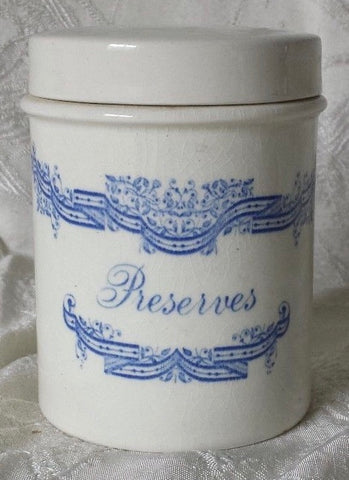 Vintage English Blue & White Transferware PRESERVES Canister Advertising Jar Pot Jelly / Jam / Marmalade