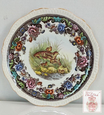 Stunning VINTAGE Spode Copeland Brown Polychrome Transferware Plate Game Bird Grouse Chicks Handpainted in Vivid Detail