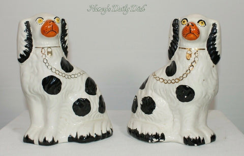 Pair Vintage Burleigh Black Spotted English Staffordshire Spaniel Dogs Figurines