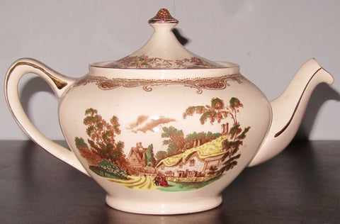 Brown Polychrome Transferware Tea Pot Teapot Olde England Fishing Stream Thatched Cottage