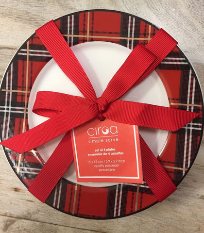 Tartan Plaid Red & Black Porcelain Bread Snack Plates Set of 4 NEW Ciroa