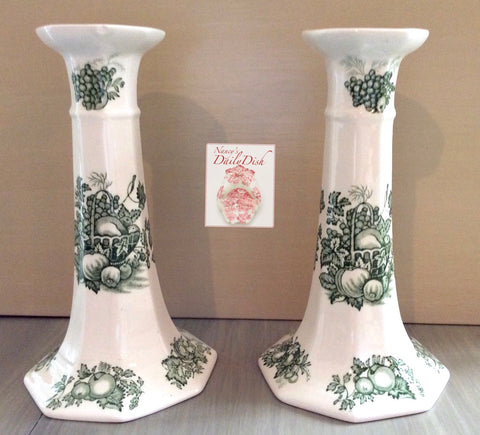 Pair Green English Transferware Candlestick Holders Masons Harvest Fruits in a Basket