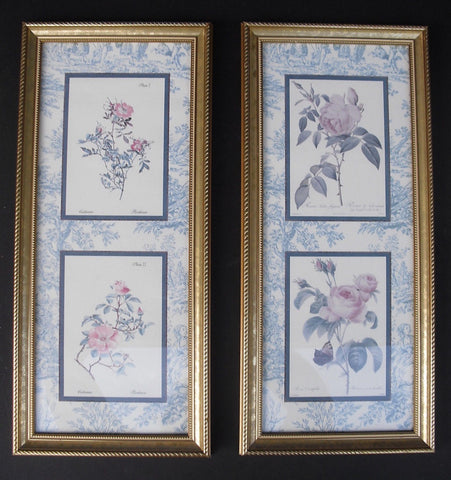 Pair of Blue & White French Toile Matted & Gold Framed Botanical Redouté Rose Prints