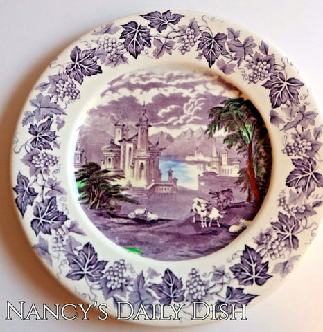 Purple Polychrome Transferware Charger Platter Grazing Cattle Sheep Castle Vintage English