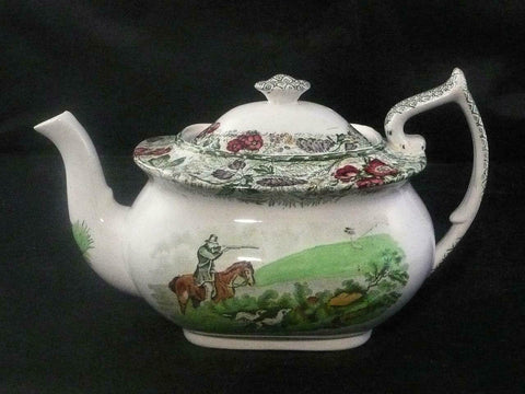 RARE Green Polychrome Transferware Teapot English Hunt Scene Spode Copeland Field Sports