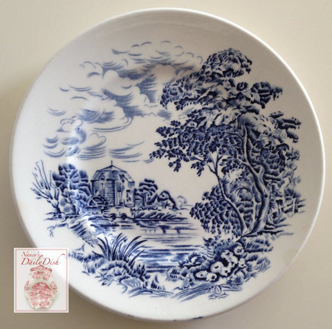"Vintage Blue & White Toile Transferware 6"" Plate Scenic English Countryside Foot Bridge Watermill"