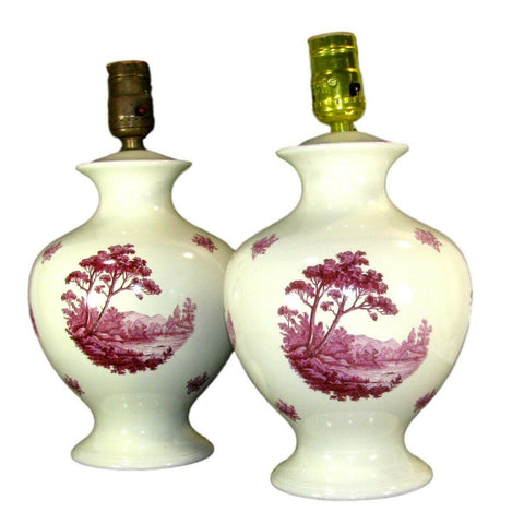 PAIR Antique Transferware Lamps River Trees & Mountains Wired & Work - Maroon / Red -Pink ish