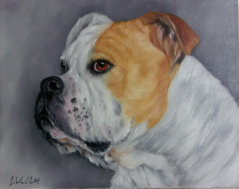 English Bulldog Original Hand Painted Dog Portrait Artist Signed Painting