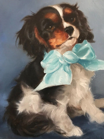 Original Artist Signed Oil Painting Cavalier Spaniel Pup Dog Portrait w/ Big Blue Bow