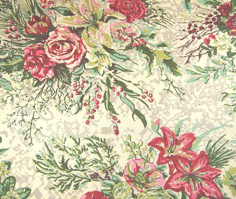 Set of 4 New April Cornell Chickadee Merry Victorian Roses Cloth Napkins Pink Red Green Cream