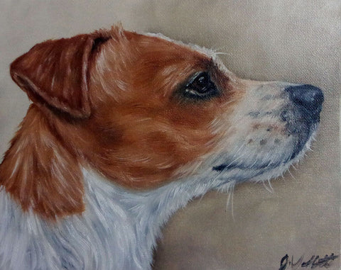 Jack Russell Terrier Original Hand Painted Dog Portrait Artist Signed Painting