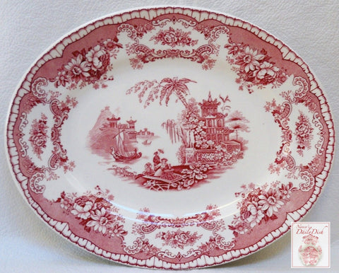 Antique Red Pink Transferware  Platter Sailboat Ship Urn Flowers Roses