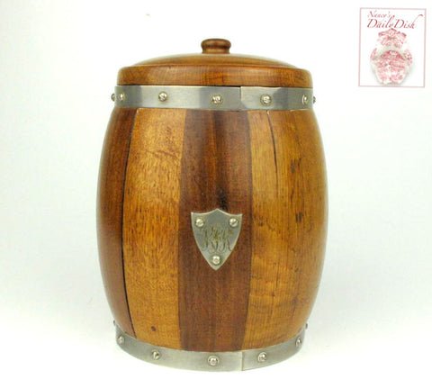 Circa 1800's Antique English Oak Silver Engraved Shield Biscuit Barrel / Ice Bucket