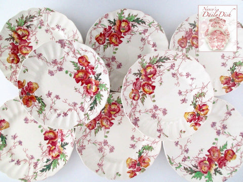Spring Poppy Flower Transferware Plate Poppies Hand Painted Pink Purple Yellow Green