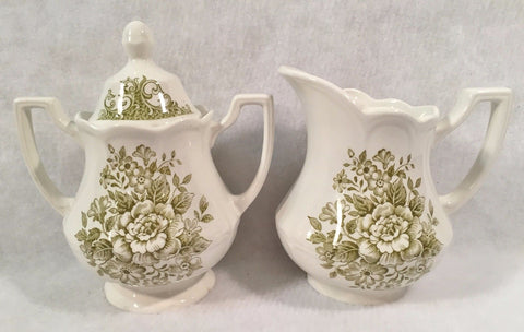 Sage Olive Green Transferware Sugar Bowl & Creamer Cream Pitcher Roses Daisies