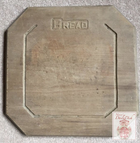 Antique Octagon Shaped Carved English BREAD Board Vintage Primitive Wood