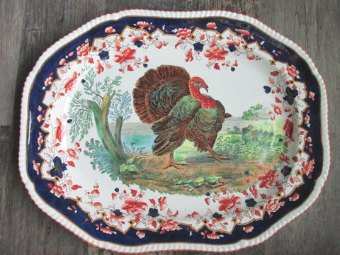Antique Copeland Spode Upland Polychrome Transferware Turkey Platter Over 23""