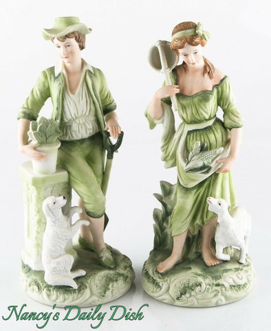 Pair Vintage Boy w/ Shovel Girl w/ Butterfly Net  Figurines Boy & Girl  Green Hand Painted