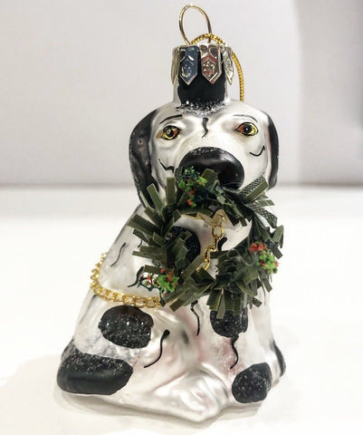 Black & White Staffordshire King Cavalier Spaniel Dog w/ Christmas Wreath Ornament