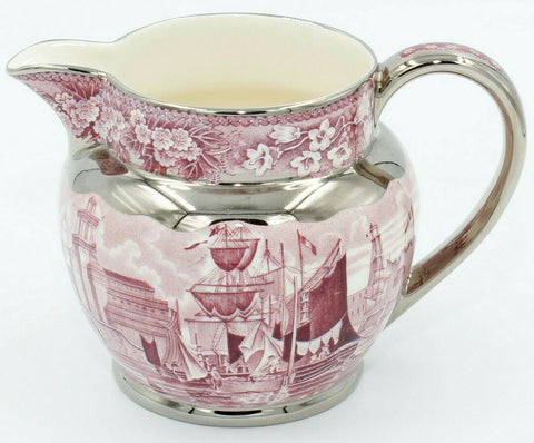 Med Wedgwood Ferrara Purple Plum Transferware Cream pitcher Sterling Silver Overlay Clipper Ships Floral  Blue Bell & Phlox Border