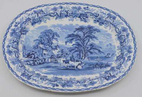 Vintage Blue Transferware Platter  Oxen / Cattle & Sheep  English Country Cottage Scenery