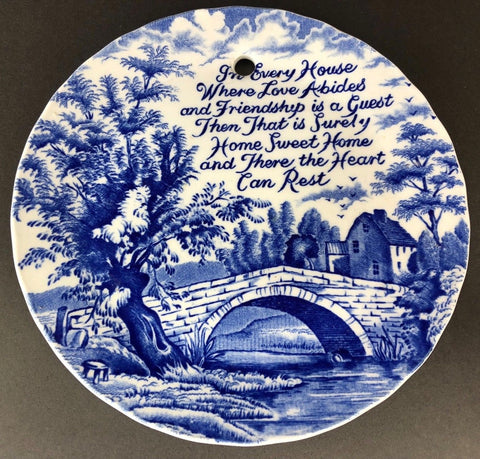 Vintage Blue Toile Transferware Plaque English Ironstone Where The Heart Can Rest - Home - Poem
