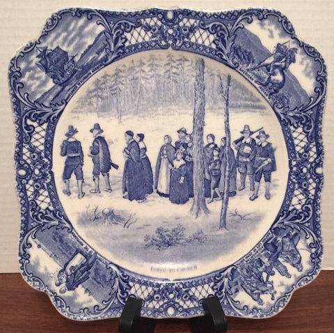 Blue Colonial Times Square Transferware Plate Pilgrims Going To Church Historical Staffordshire