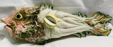 Vintage XL Italian Majolica Fish Server Covered Dish / Tureen