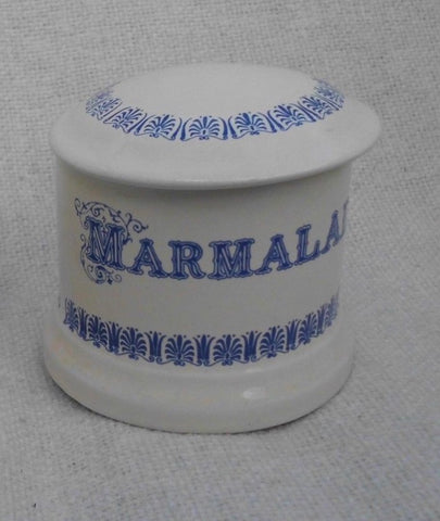 Vintage English Blue & White Transferware Advertising Jar Marmalade Pot