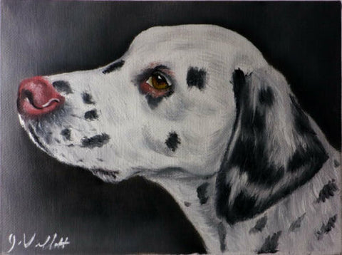 Dalmation Dog Portrait Original Hand Painted Artist Signed Oil Painting