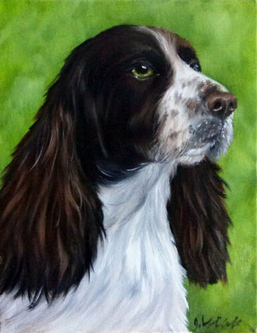 Original Hand Painted Oil Black English Spaniel Dog Artist Signed Painting