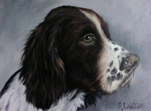 Original Artist Signed Oil Painting Black English Spaniel Dog Profile Hand Painted