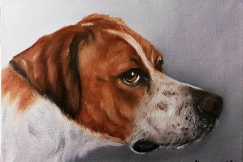 English Hunting Dog OIl Painting Portrait Original Hand Painted Artist Signed