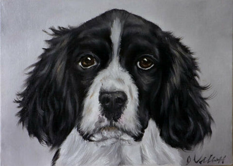 Hand Painted Original Oil Black English Spaniel Dog Artist Signed Painting