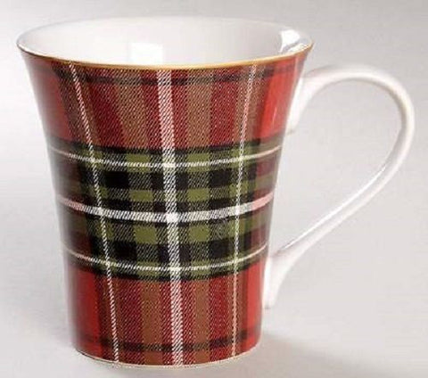 Tartan Plaid Red & Green Christmas Mugs Coffee Cups Set of 4 NEW 222 Fifth Wexford