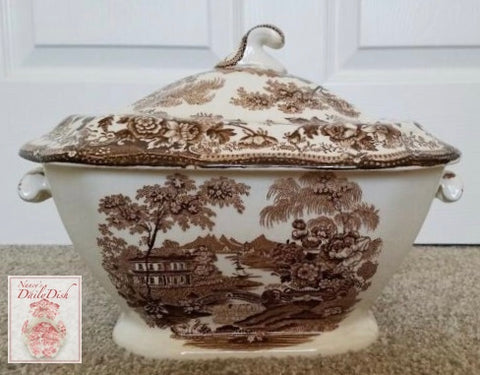 Large Brown Toile English Transferware Soup Tureen Tonquin Flowers Roses Clarice Cliff