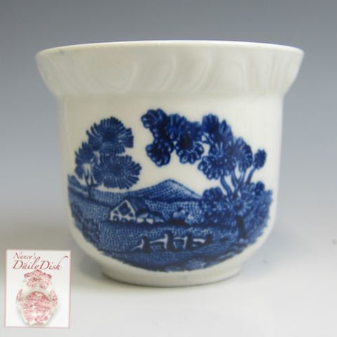 Blue Transferware Adams English Scenic Egg Cup Mini Vase