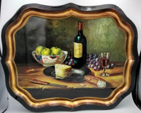 Vintage Still Life Tole Tray Toleware Wine, Cheese  & Fruit Board Ian Logan London England