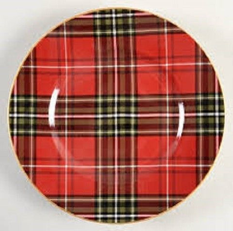 "Tartan Plaid Red & Green Christmas 8"" Salad Plates  NEW 222 Fifth Wexford (Multiples available)"