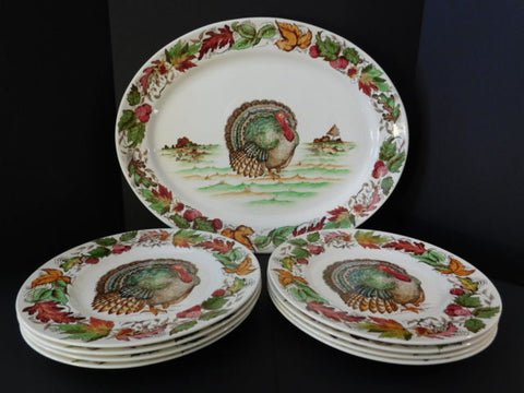 Thanksgiving Turkey Dinnerware Set 8 Brown Transferware Plates u0026 Platter Clarice Cliff Hand Painted Autumn Foliage & Antique Thanksgiving Turkey Dinnerware Set 8 Brown Transferware ...