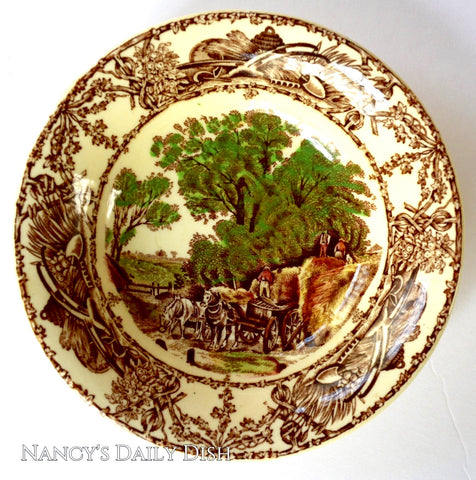 Brown Polychrome Transferware Rural Scenes Cereal Bowl AJ WIlkinson Harvest