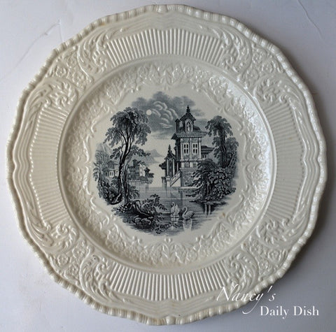 Royal Doulton Black Transferware Cream Ware Scenic Plate Charger Wading Swans RARE Embossed Scrolled Border