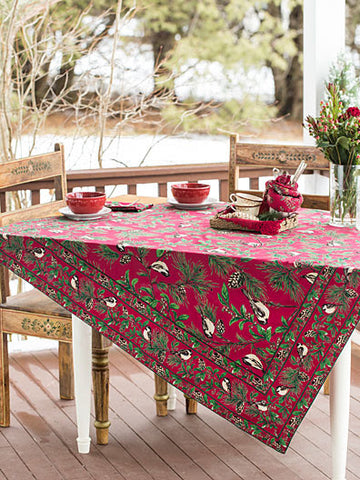 "New April Cornell Tablecloth Christmas / Winter Chickadee Bird Pinecone 60"" x 104"" Red"