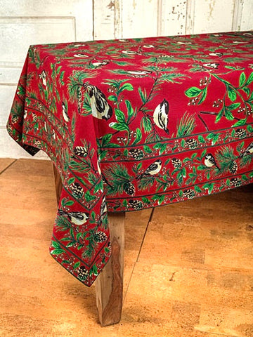"New April Cornell Tablecloth Christmas / Winter Chickadee Birds Berries Pinecone 60"" x 120"" Red"