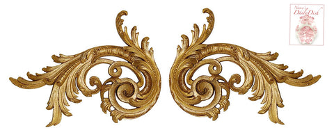 Pair of Antique'd Gold Hand Finished Left & Right Scroll Architectural Door Toppers Wall Accent