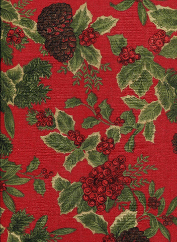 "Ralph Lauren Winter Birchmont Holly Tablecloth 60"" x 120""  Dark Red / Green New in Package"
