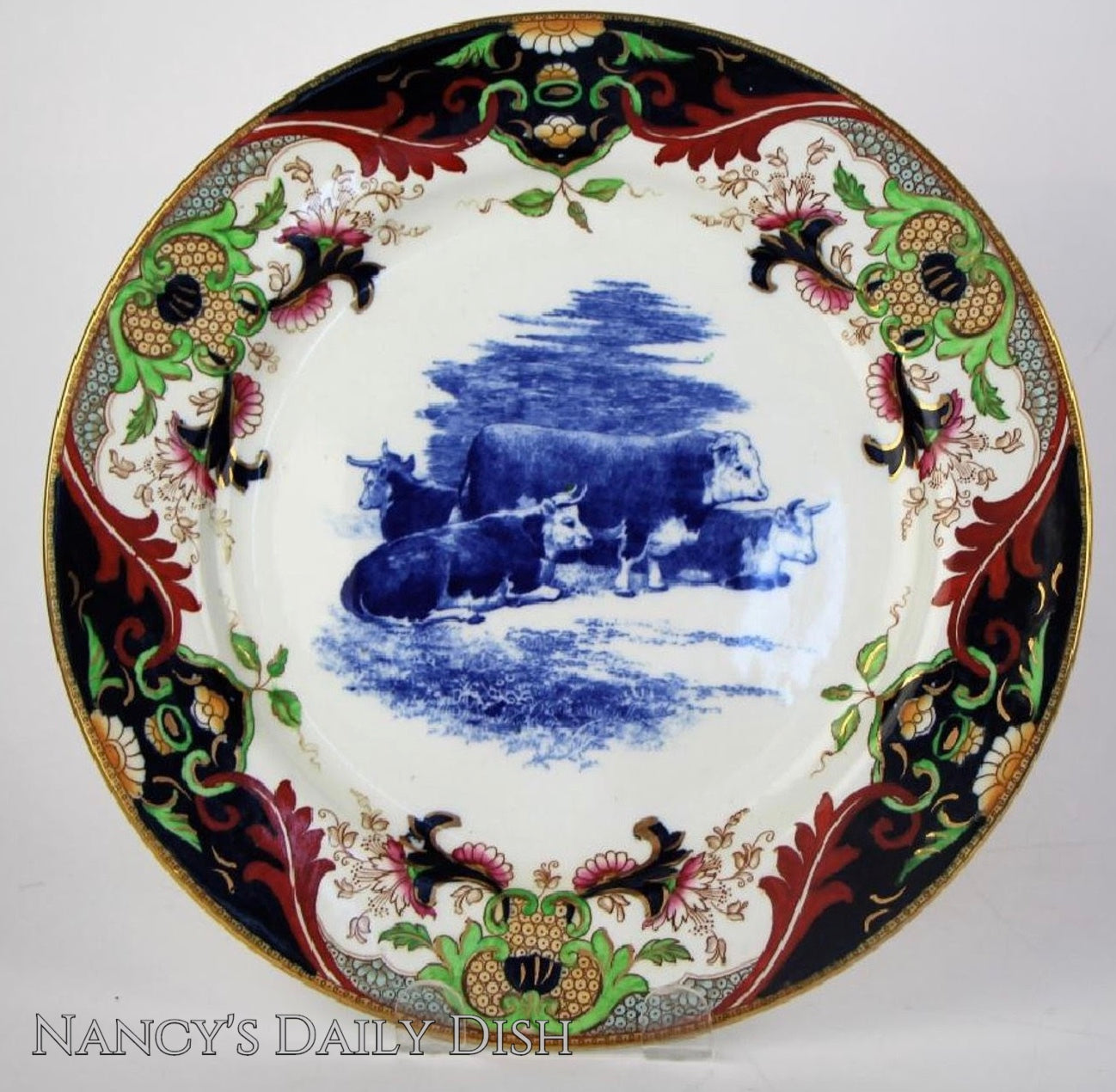 1902 Royal Doulton Antique Resting Cattle Cows Matsumai Flow Blue Transferware Plate Chinoiserie Border & 1902 Royal Doulton Antique Resting Cattle Cows Matsumai Flow Blue Tran