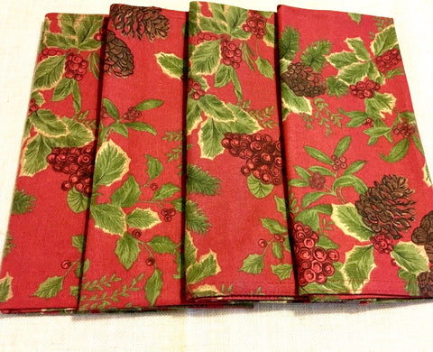 Set 4 Ralph Lauren Birchmont Winter Holly Berry Dinner Napkins Brand New In Package  Red / Green