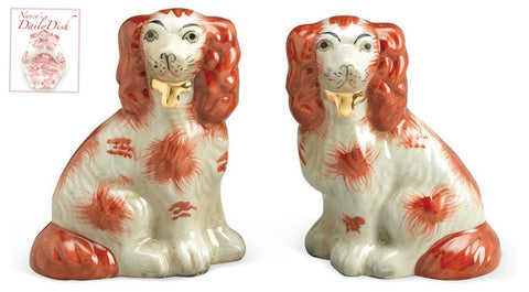 Pair of  Rust Brown & Off White Gilt English Staffordshire Spaniel Dog Figurines  - English Country Decor
