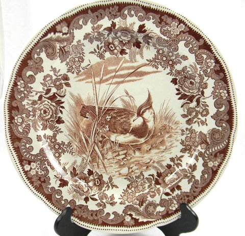 Spode Copeland Antique Brown Transferware Game Bird Plate Plover No. 7